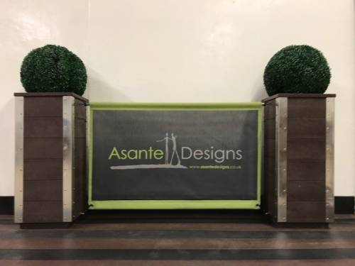 Artificial Wood Planters With Cafe Banner Screen & Boxwood Ball Plant