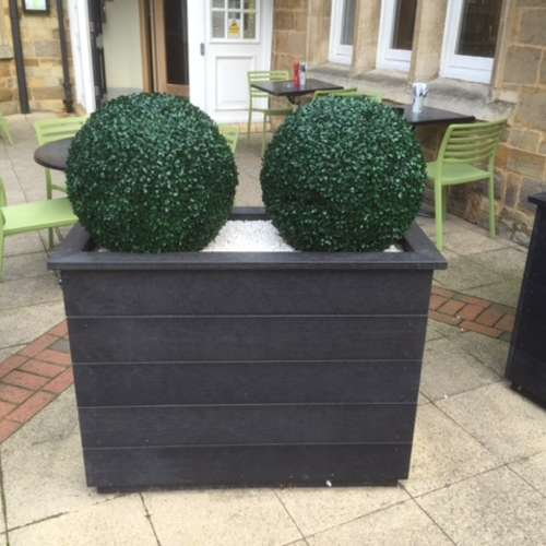 Black Artificial Plastic Wood Planter With Boxwood Ball