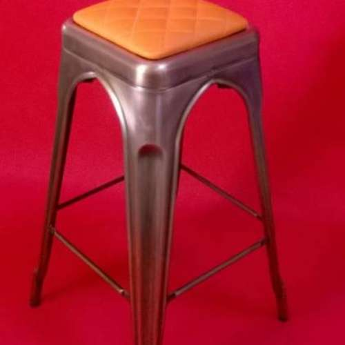 Paris Galvanised High Stool With Upholstered Seat Pad