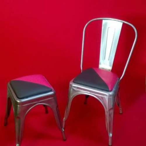 Paris Galvanised Side Chair With Upholstered Seat Pad